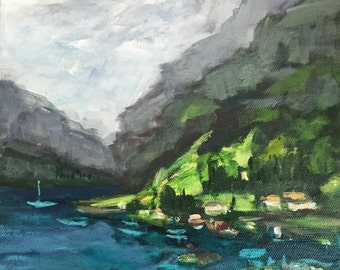 "Nærøyfjord fjord view cruise small 8""x8"" original acrylic painting on canvas Norway souvenir"