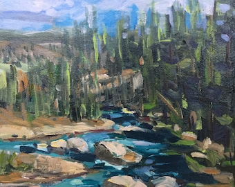 "Lamar River View  10""x10"" original painting acrylic on canvas Yellowstone Park"