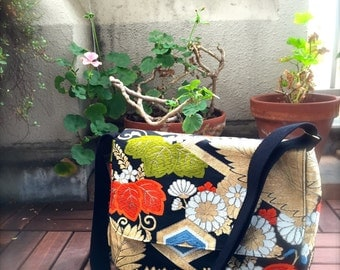 Obi /  Kimono / Bag / BB884 Gorgeouse Flower Embroidery Obi Messenger Bag Medium Size