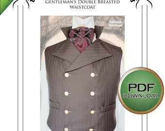 """New Small size. Sweeney Victorian waistcoat VestPdf Instant Download Sewing pattern 30"""" -32""""-34"""" chest"""