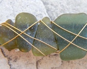 Sea Glass Hair Clips Wire Wrapped Ocean Lovers Gifts for Her Moss Green Beach Glass Barrettes Sea Siren Accessories Olive Green Jewelry