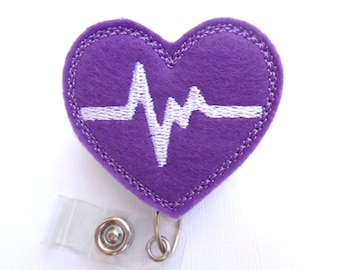 Retractable badge holder - nurse badge holder - Heartbeat EKG purple felt with white - Nurses RN doctor medical staff