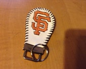 Keychain made from baseball with Embroidered San Francisco Giants SF logo