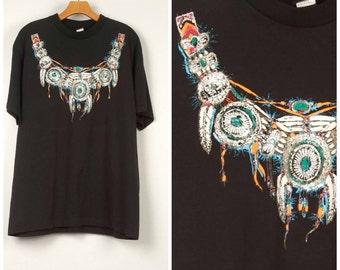 Southwestern turquoise glitter 90s black t-shirt Native American squash blossom necklace graphic Tee Men Women unisex short sleeve 44 chest