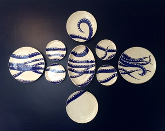 Plate wall, octopus wall decor, wall hanging, nautical plates, ocean theme, handpainted pottery, ceramic serving ware, mosaic plate wall
