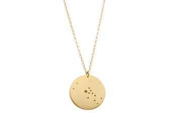 """Taurus 14kt Gold Dipped 1.25"""" Zodiac Constellation Necklace"""