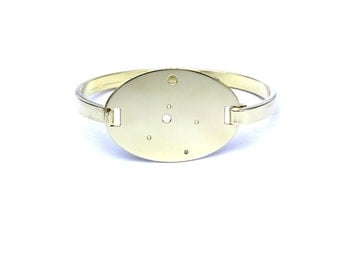 Cancer High Polished Raw Brass Zodiac Constellation Oval Bracelet