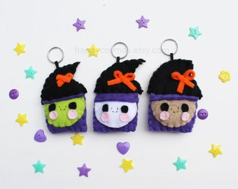 Witch Keychain - Halloween Keychain, Trick or Treat, Felt Food, Party Favors, Limited Edition