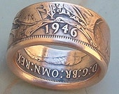1946 British One Penny Coin Ring with extra Wide Band (Available in sizes 6.5 through 8.5)