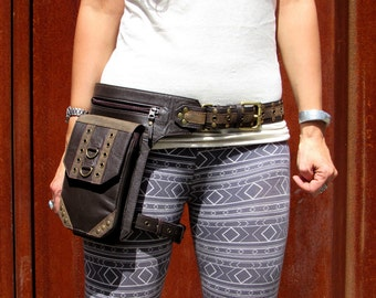 Leather Leg Holster Utility Belt Thigh Bag Festival Steampunk Hip Belt Bag with Pockets in Brown HB33d