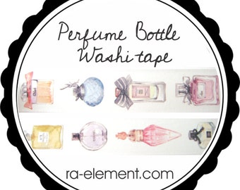 Perfume Bottle roll of Washi Tape | Glam washi tape with large watercolor perfume bottles (Chanel, Dior, Chloe)