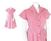 RESERVED      1940s Dress Plus Size • 40s Candy Striper Dress • Red and White • XL XXL