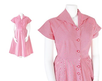 1940s Dress Plus Size • 40s Candy Striper Dress • Red and White • XL XXL