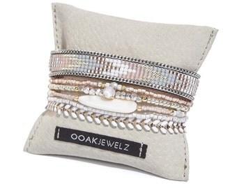 Pale pink multistrand beaded bracelet - multiple rows bracelet - multiple strands pastel pink bracelet - bohemian beadloom bracelet