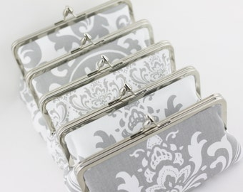 Grey Bridal and Bridesmaids Clutches, Grey Wedding Clutches, Grey Silver Wedding Purses ( Florence Style Clutch ) - Set of 5