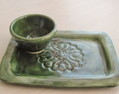 Second Pottery Dish Sushi Plate and Bowl Ceramic Spoon Rest Handmade Pottery Tray Stoneware Clay