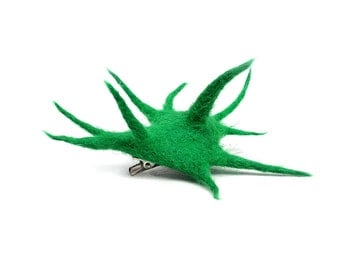 Felted brooch green cactusTerrific Fashion pin jewelry Regina Doseth handmade in Lithuania EU
