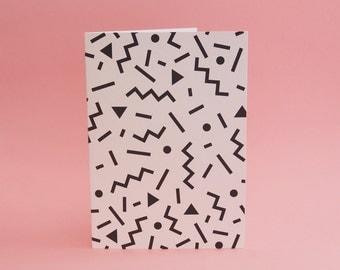 "Blank Greeting Card 5X7"" // Confetti Print //Memphis Inspired Print // ""Ettore"" // Friendship Card // Romantic Card // Valentine's Card"