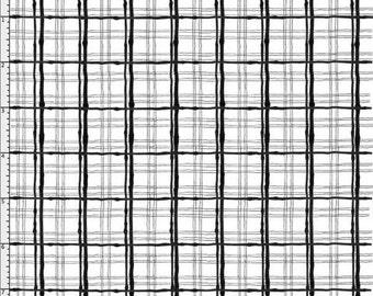 NEW Loralie Designs Sophistiplaid White/Black fabric - 1 yard