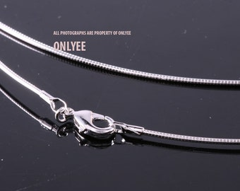 10PCS-1.18mmBright Rhodium Plated Brass Snake Chain Blank Collar choker Necklaces(E2902S)