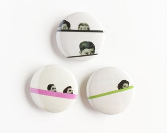 Set of Three 25mm Button Badges - Peekaboo