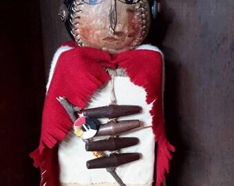 Prims magazine Primitive Crazy Horse Oglala Lakota people Native American Folk Art doll, Free Shipping,  primitive reclaimed wood, softball