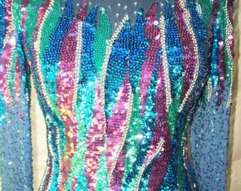 Vintage Nite Line Pastel Sequin Dress w/Long Sleeves Sz 4