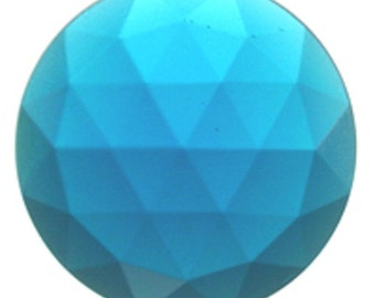 30mm Flatbacked Turquoise Blue Faceted Glass Jewel for Stained Glass and Jewelry