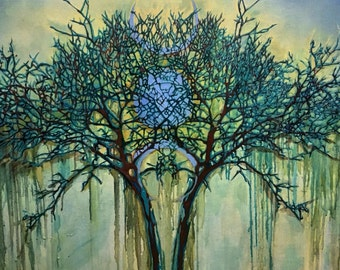 """Giclee. Fine art print. Title: Witching hour. Blue tree moon 2016"""" 28""""x29"""""""