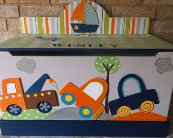 Cars, Trucks, Transportation, Kids Benches, Toy Boxes for Boys, Little Traveler, Lambs and Ivy, Toy Storage Kids Furniture, Nursery