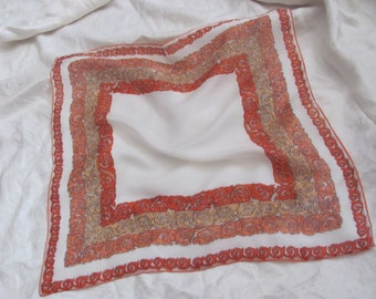"Beautiful Antique Small Orange Silk Scarf // 16"" Inch 38cm Square (#48)"