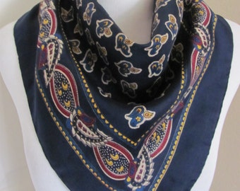 "Beautiful Dark Blue Paisley Silk Scarf // 23"" Iinch 58cm Square"
