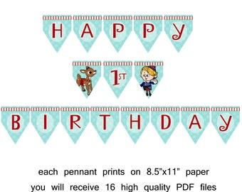 Printable Rudoph Inspired Happy Birthday banner