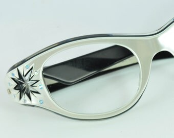Rhinestone and Star Cut Cat Eye Glasses/Sunglasses, NOS by May, 1950s, 1960s