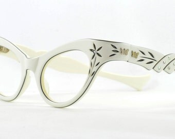 Gorgeous Cat Eye Glasses, Pearl White Layered Over Black with Flower Cut Outs, 1950s, 1960s
