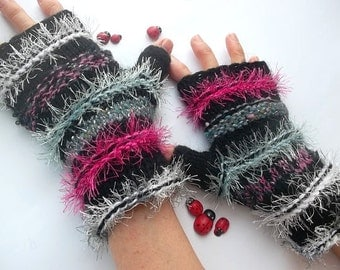 ASYMMETRICAL GLOVES / Women Accessories Hand Knitted Fingerless Mittens Elegant Warm Wrist Warmers Winter Cabled Romantic Striped Arm 1111