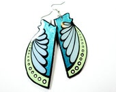 Long Handpainted Custom Shaped Modern Metallic Turquoise, Sea Foam Green and Sky Blue New Mexican Flower Blossom Inspired Earrings