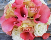 Pink and White Silk Rose and Real Touch Calla Lily Brides Garden Wedding Bouquet OOAK ready to ship