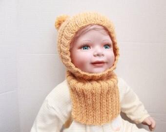 Hand Knit Pompom Baby Helmet. Hand Knit Baby Balaclava. Mustard Alpaca Baby Helmet. Mustard Baby Boy Hat. Knit Pompom Baby Girl Hat.