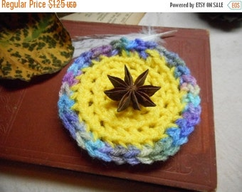You are my sunshine Handmade Mini Doll House Crocheted miniatures Round Rug in sunshine yellow & monet.