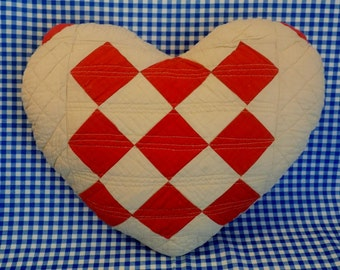 French Inspired Country Cottage Heart Pillow * Red and Natural Vintage Fabric * Red and White Quilted Pillow * Vintage Quilt * heart pillow