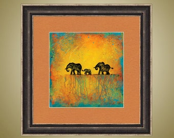 PRINT or GICLEE Reproduction -- Elephant Family Abstract Elephant Herd Bright Colors - 12 x 12 A Spectacular Journey