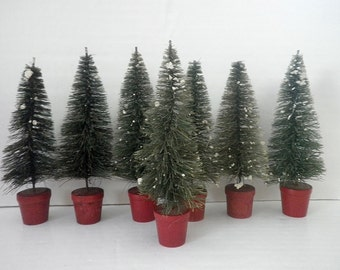 Vintage Bottle Brush Trees Red Pot Bases Mica Snow Rare Group of 7 Christmas Decor
