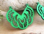 WP03 / # 6 Jade Green / Wood Filigree Lace Dangle For Earring/ Laser Cut Lace Charm / Pendant / Romantic Chic Bohemian Filigree Dangle