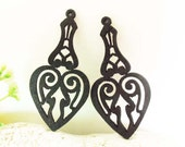 WP17 / #14 Black / Wood  Moroccan Style Pairs for Earring /Warm Color Laser Cut Wooden  Charm /Pendant /Filigree Wood Pendant / Ear drop
