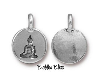 Two Meditating Buddha Charms TierraCast Antique Silver Finish  Zen Yoga Buddhism