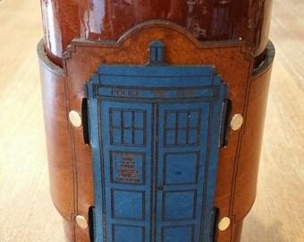 Leather Mug Wrap, Mug accessory, Dr. Who, TARDIS, blue tardis, Police Box, Time Lord, Blue police box, Leather TARDIS, Leather Police Box