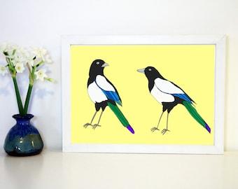 Magpies Art Print A4 archival Print