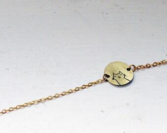 CAT bracelet // raw brass // hand stamped jewelry