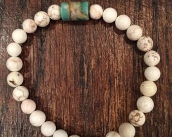 White Turquoise & Mint Jasper Bracelet